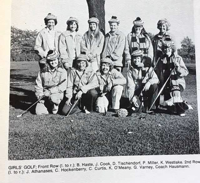 The 1975 LHS girls golf team placed fifth in the state.