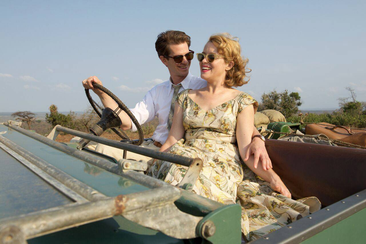 "Robin and Diana Cavendish (Andrew Garfield and Claire Foy) enjoy a carefree moment before tragedy strikes in ""Breathe."""
