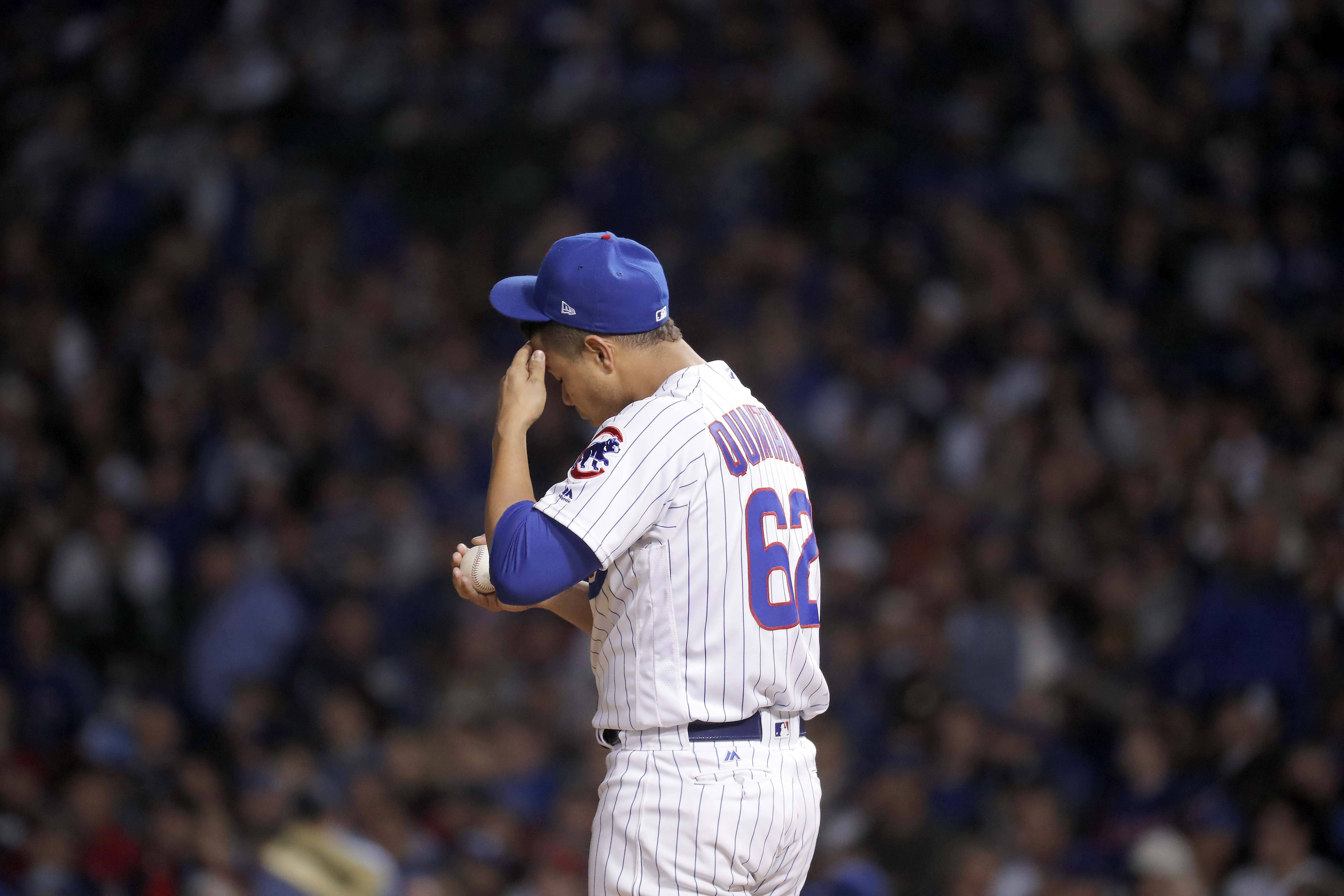 Chicago Cubs starting pitcher Jose Quintana (62) tries to collect himself in the third inning during Game 5 of the National League Championship Series, Oct, 19 2017, at Wrigley Field in Chicago.