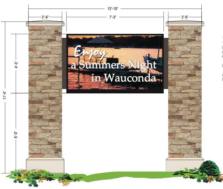 An architect's rendering of an electronic sign Wauconda officials plan to install where Route 176 meets Route 59 near the village's downtown. The sign and installation will cost just under $76,000.