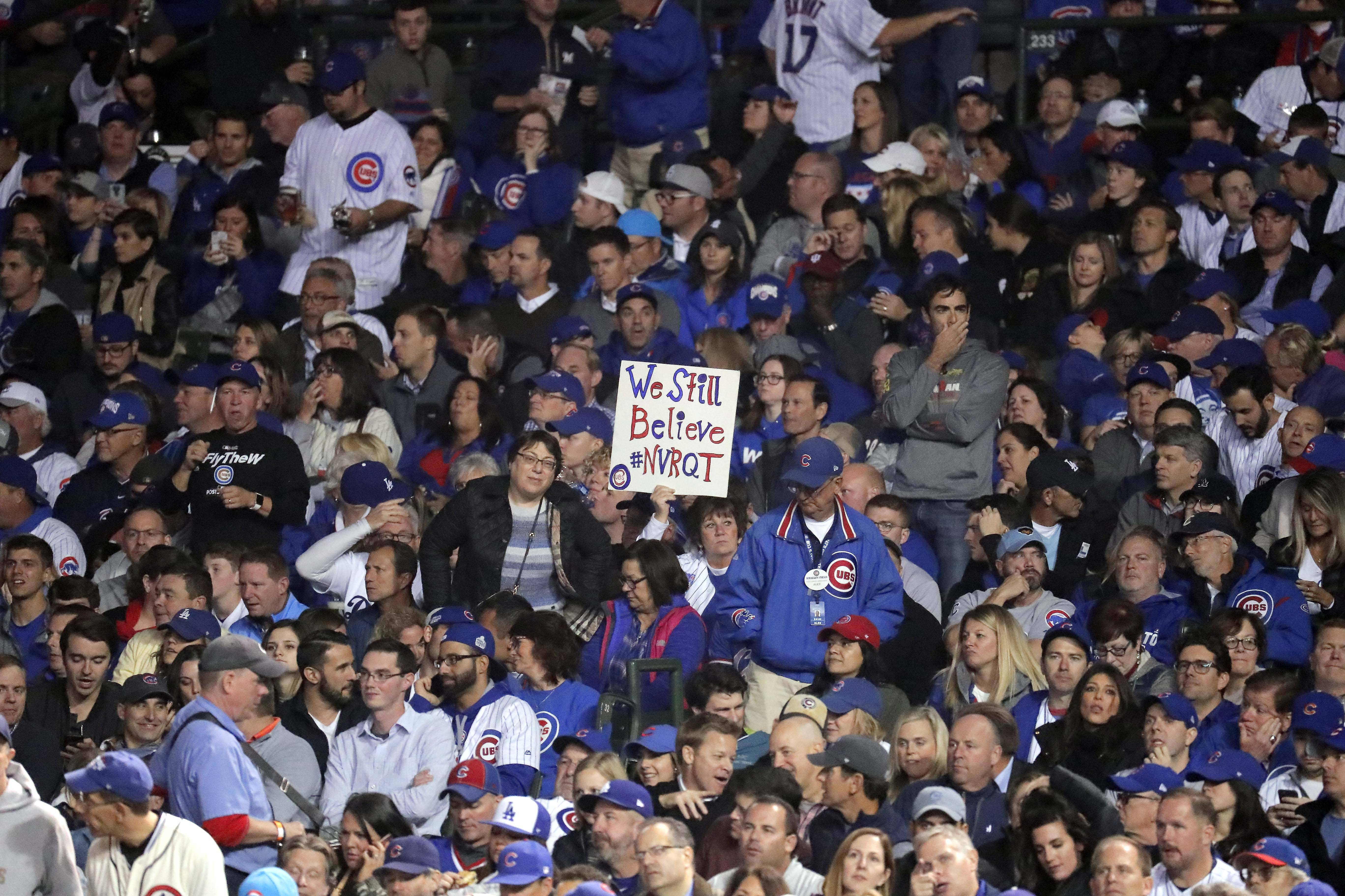 There was no joy in Wrigleyville for Chicago Cubs fans Thursday night as the Los Angeles Dodgers beat the Cubs 11-1 in Game 5 of the National League championship series to end the Cubs' dreams of a World Series repeat.