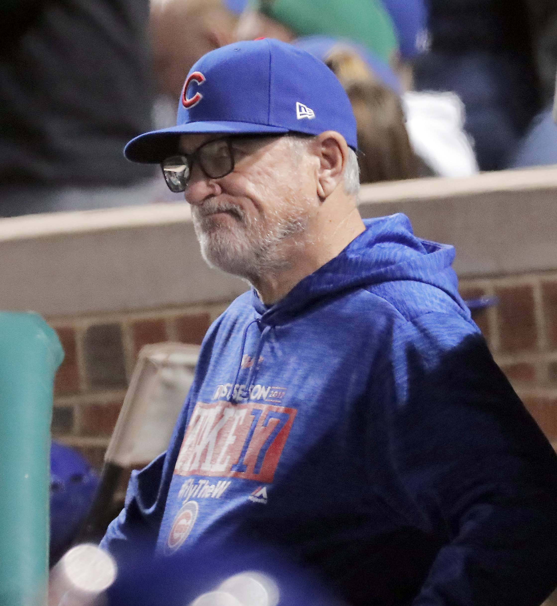 "Cubs manager Joe Maddon during Game 5 of the National League championship series at Wrigley Field in Chicago. ""The players have gotten us to the NLCS for the third year in a row, and I hope that's something that nobody ever takes for granted here — or anywhere else,"" said Cubs manager Joe Maddon. ""I think any fan base throughout Major League Baseball would be very appreciative of a group of players that gets this deep into the season three consecutive years."""