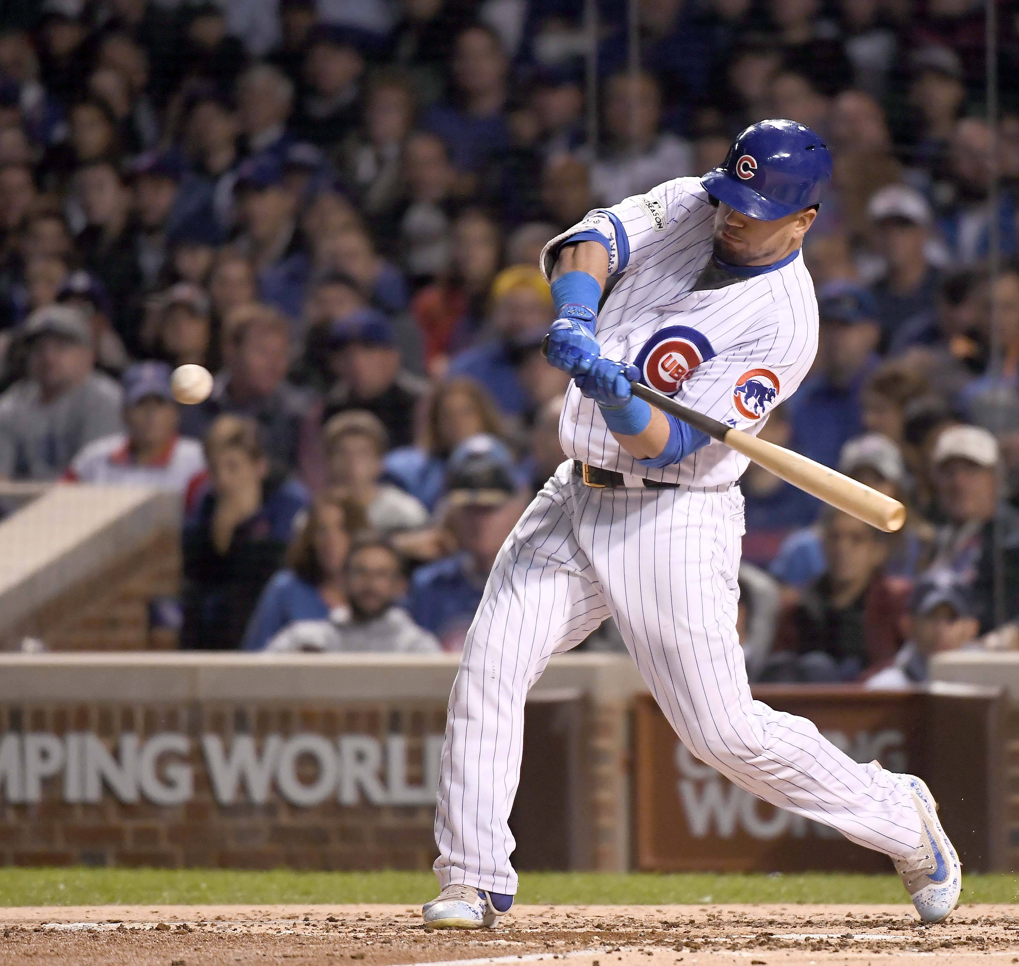 John Starks/jstarks@dailyherald.comChicago Cubs left fielder Kyle Schwarber (12) grounds out to end the 3rd inning during Game 4 of the National League championship series, Oct, 18 2017, at Wrigley Field in Chicago.