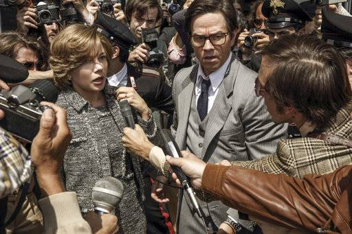 "This image released by Sony Pictures shows Michelle Williams, left, and Mark Wahlberg star in TriStar Pictures' ""All The Money in the World."" Ridley Scott's film about the kidnapping of John Paul Getty III will have its world premiere as the closing night film of the American Film Institute's annual festival in Los Angeles next month. (Fabio Lovino/Sony -TriStar Pictures via AP)"