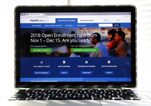 "The Healthcare.gov website is seen on a computer screen Wednesday, Oct. 18, 2017, in Washington. If President Donald Trump succeeds in shutting down a major ""Obamacare� subsidy, it would have the unintended consequence of making basic health insurance available to more people for free, and making upper-tier plans more affordable. The unexpected assessment comes from consultants, policy experts, and state officials trying to discern the potential fallout from a Washington health care debate that's becoming harder to follow.(AP Photo/Alex Brandon)"