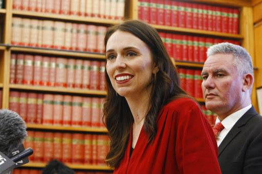 Jacinda Ardern talks to reporters Thursday, Oct. 19, 2017, in Wellington, New Zealand. Ardern will be New Zealand's next prime minister and hopes to take the country on a more liberal path following nine years of rule by the conservatives.