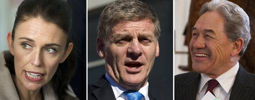 This combination of photos, shows from left, New Zealand Labour Party leader Jacinda Ardern, left, in Christchurch, on Aug. 16, 2017, New Zealand Prime Minister Bill English, in Christchurch on Aug. 24, 2017, and New Zealand First leader Winston Peters in Christchurch, Aug. 16, 2017, speaking at events during the election campaign. The main conservative and liberal parties are competing to form a government after an election last month ended with an inconclusive result. Crucial to the negotiations is the small New Zealand First party, led by maverick lawmaker Winston Peters.
