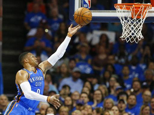 Oklahoma City Thunder guard Russell Westbrook (0) shoots in the first quarter of an NBA basketball game against the New York Knicks in Oklahoma City, Thursday, Oct. 19, 2017. (AP Photo/Sue Ogrocki)