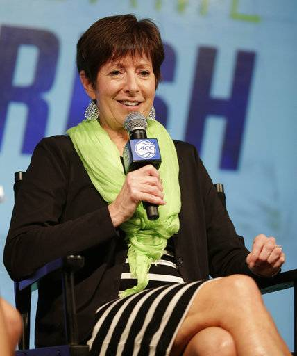 Notre Dame head coach Muffet McGraw answers a question during the Atlantic Coast Conference women's NCAA college basketball media day in Charlotte, N.C., Thursday, Oct. 19, 2017. (AP Photo/Chuck Burton)
