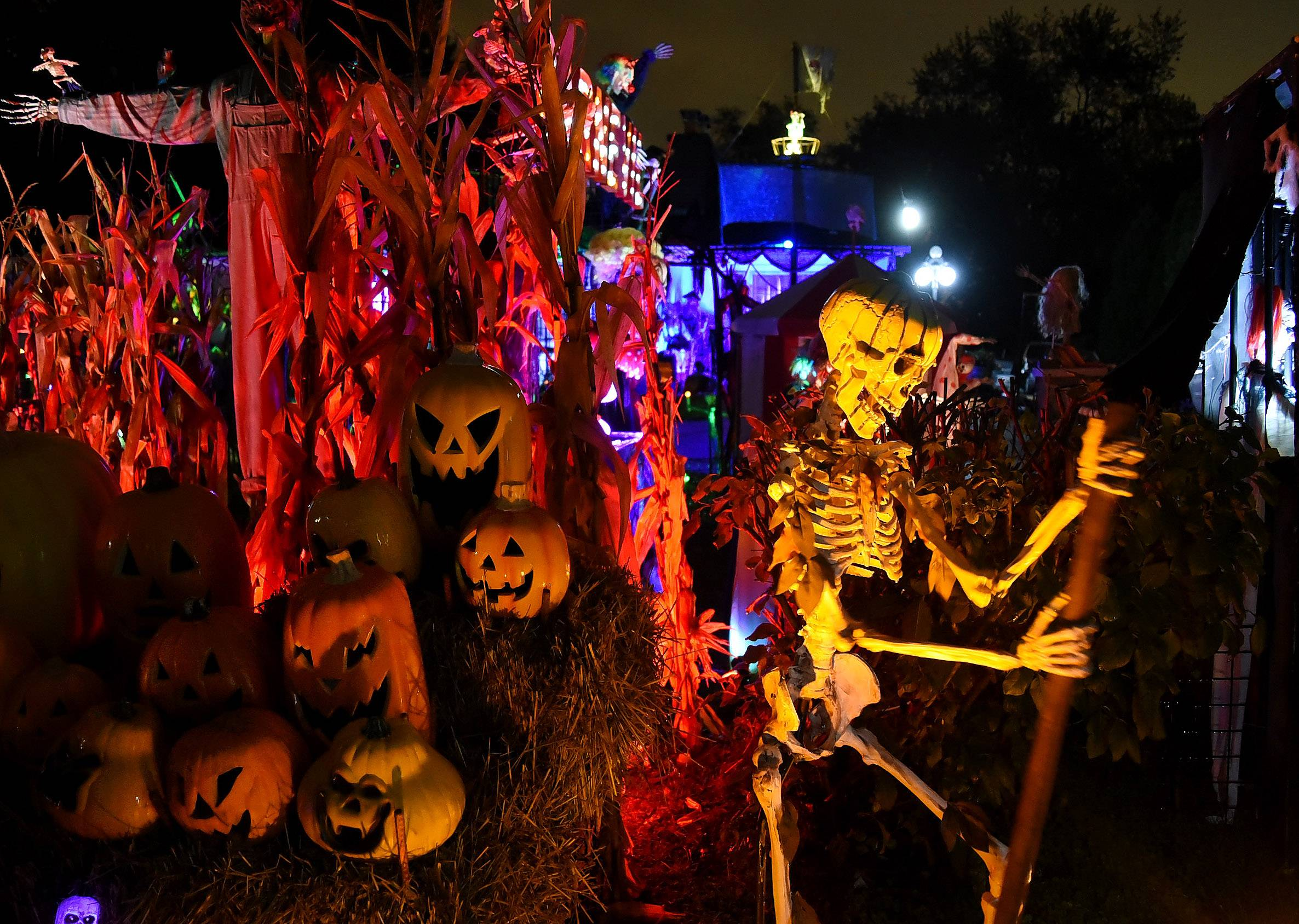 For 17 years, Michael Podlin and TammySue Margalit have turned their Arlington Heights home into a spectacular Halloween display, with movie creatures, music and lights.