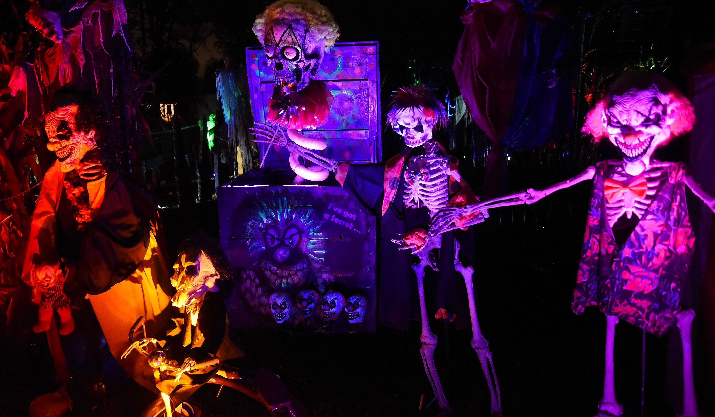 While the display changes every year, the Halloween spectacular in front of the Arlington Heights home of Michael Podlin, TammySue Margalit and family generally incorporates skeletons and clowns.