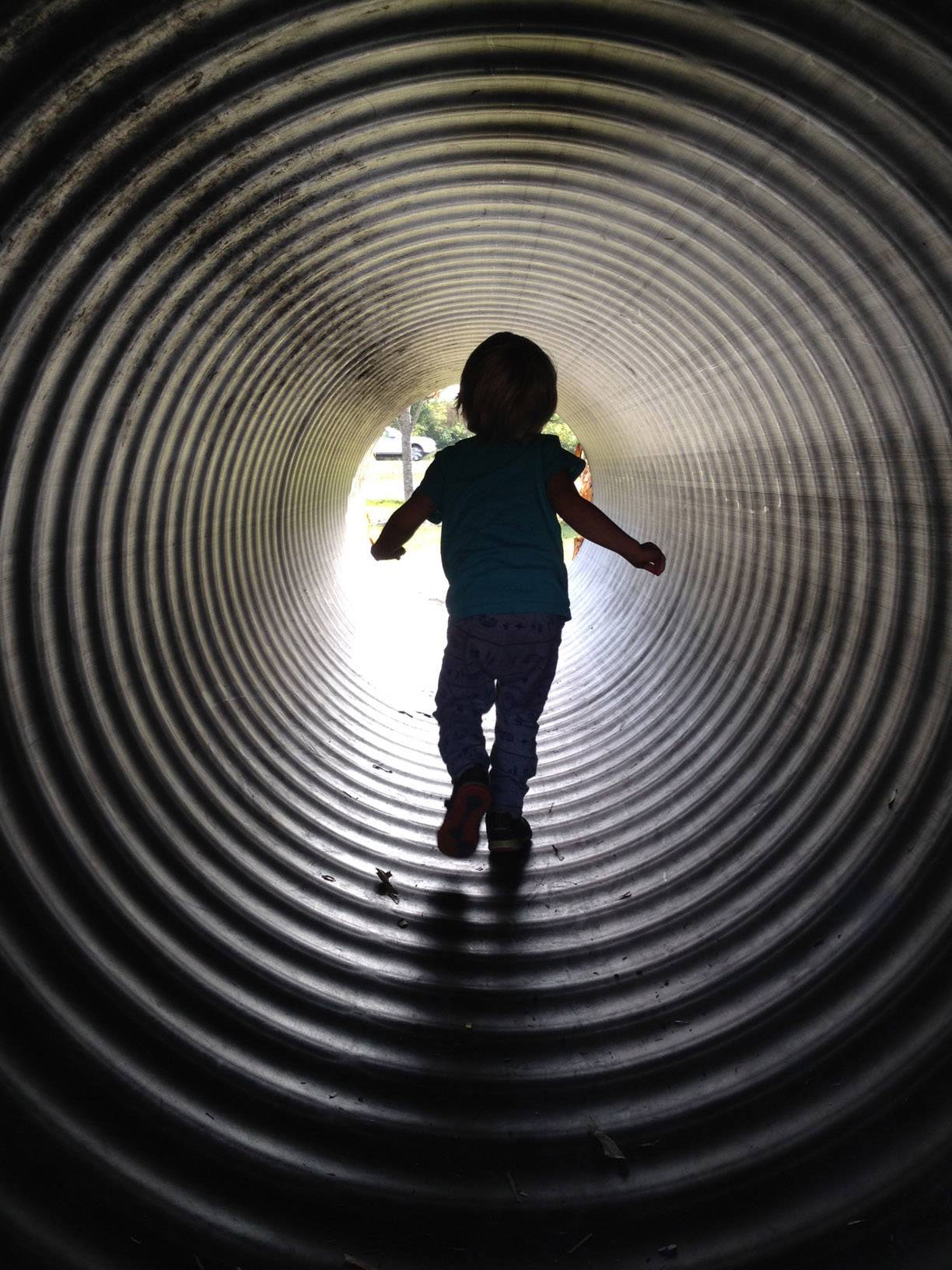 Three-year-old Leon Charles Rittmann dashes through a maze of large tubes at Goebbert's Pumpkin Farm in South Barrington earlier this month.