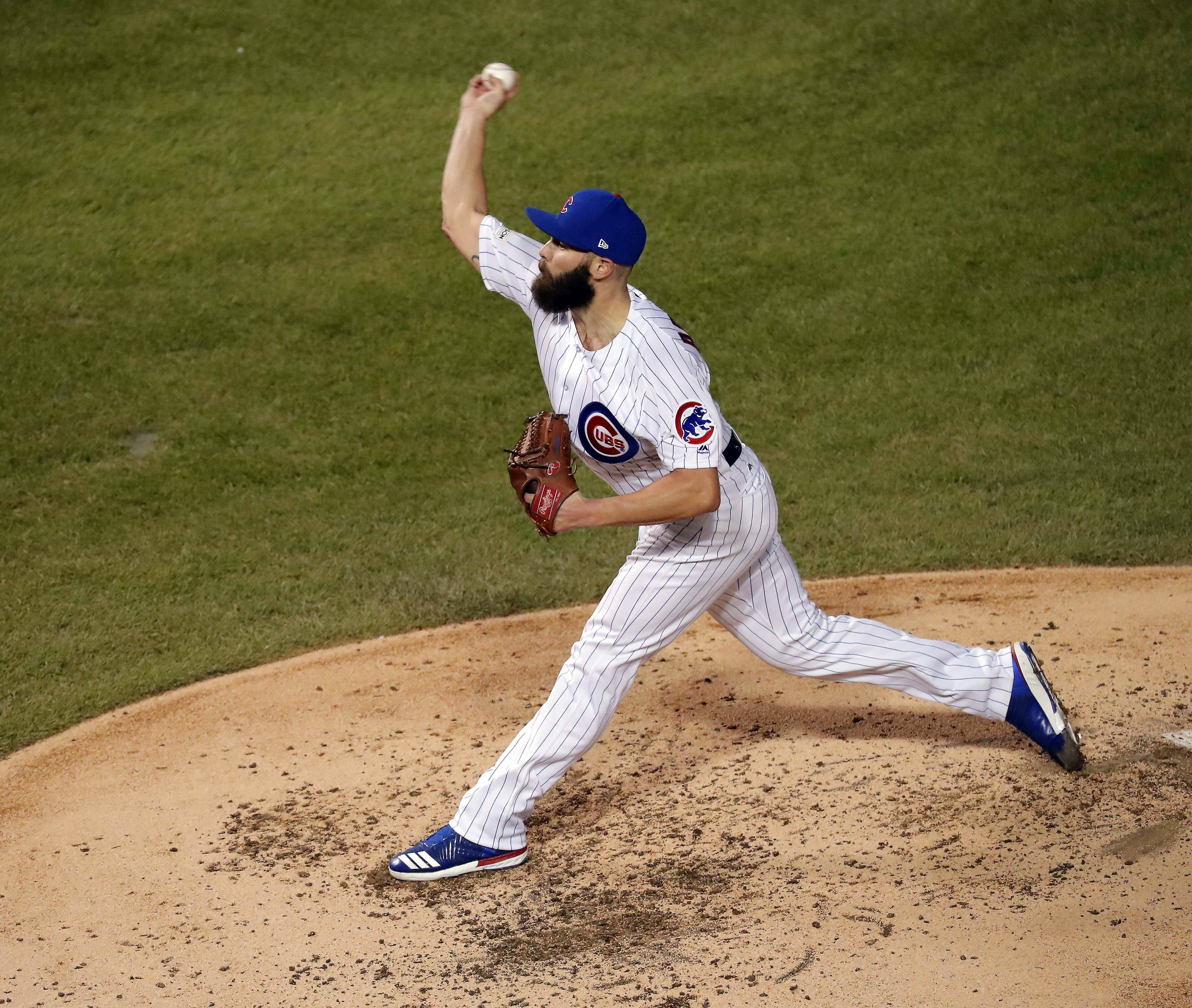 Cubs starting pitcher Jake Arrieta throws in the fourth inning during Game 4 of the National League Championship Series. That was likely Arrieta's swan song as a Cub as Cubs management will shake Arrieta's hand, thank him for everything and wish him well in the offseason.