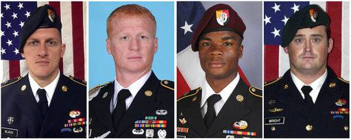 These images provided by the U.S. Army show, from left, Staff Sgt. Bryan C. Black, 35, of Puyallup, Wash.; Staff Sgt. Jeremiah W. Johnson, 39, of Springboro, Ohio; Sgt. La David Johnson of Miami Gardens, Fla.; and Staff Sgt. Dustin M. Wright, 29, of Lyons, Ga. All four were killed in Niger, when a joint patrol of American and Niger forces was ambushed by militants believed linked to the Islamic State group. (U.S. Army via AP) The Associated Press