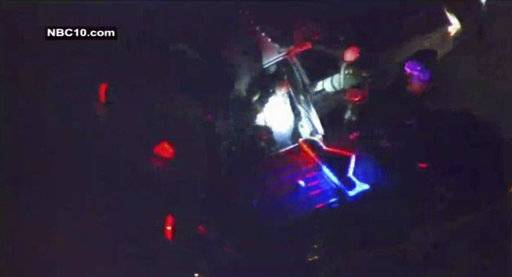 This frame grab provided by NBC10 TV shows the suspect in the shooting of six people in Maryland and Delaware, being taken into custody Wednesday, Oct. 18, 2017, in Wilmington, Del. (NBC10 TV via AP)