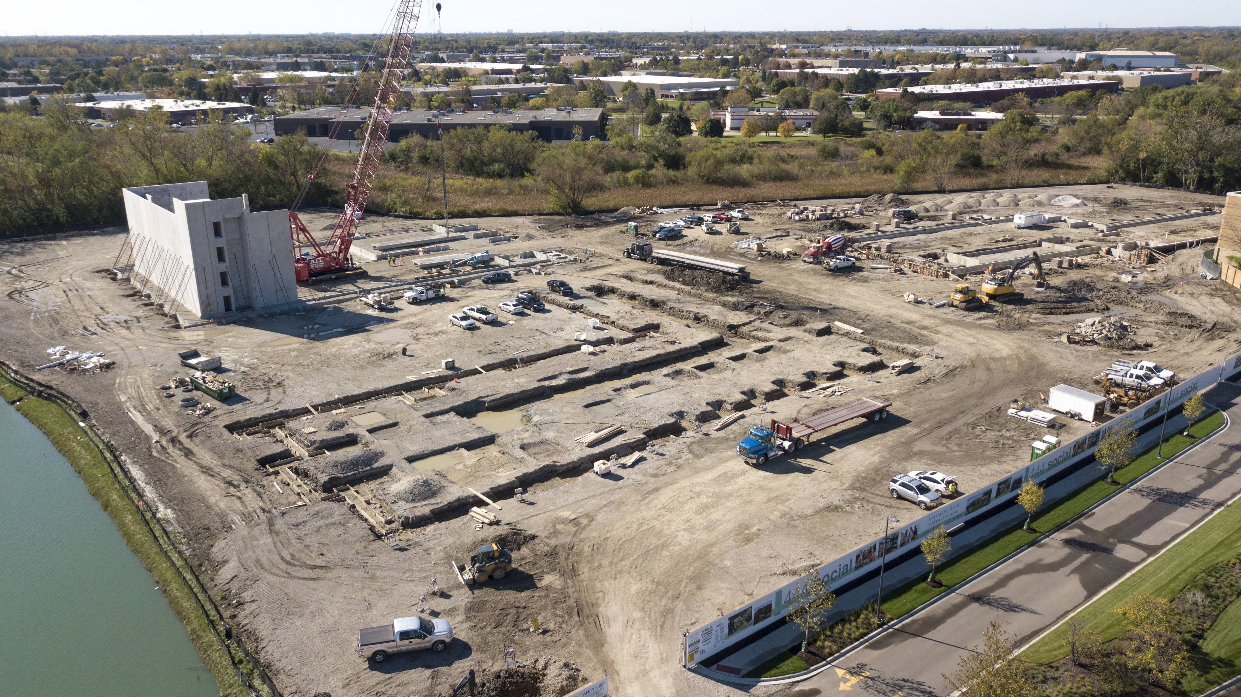 This Daily Herald drone photo shows the first apartment development in Lincolnshire. The development is near the site of the Regal Cinemas.