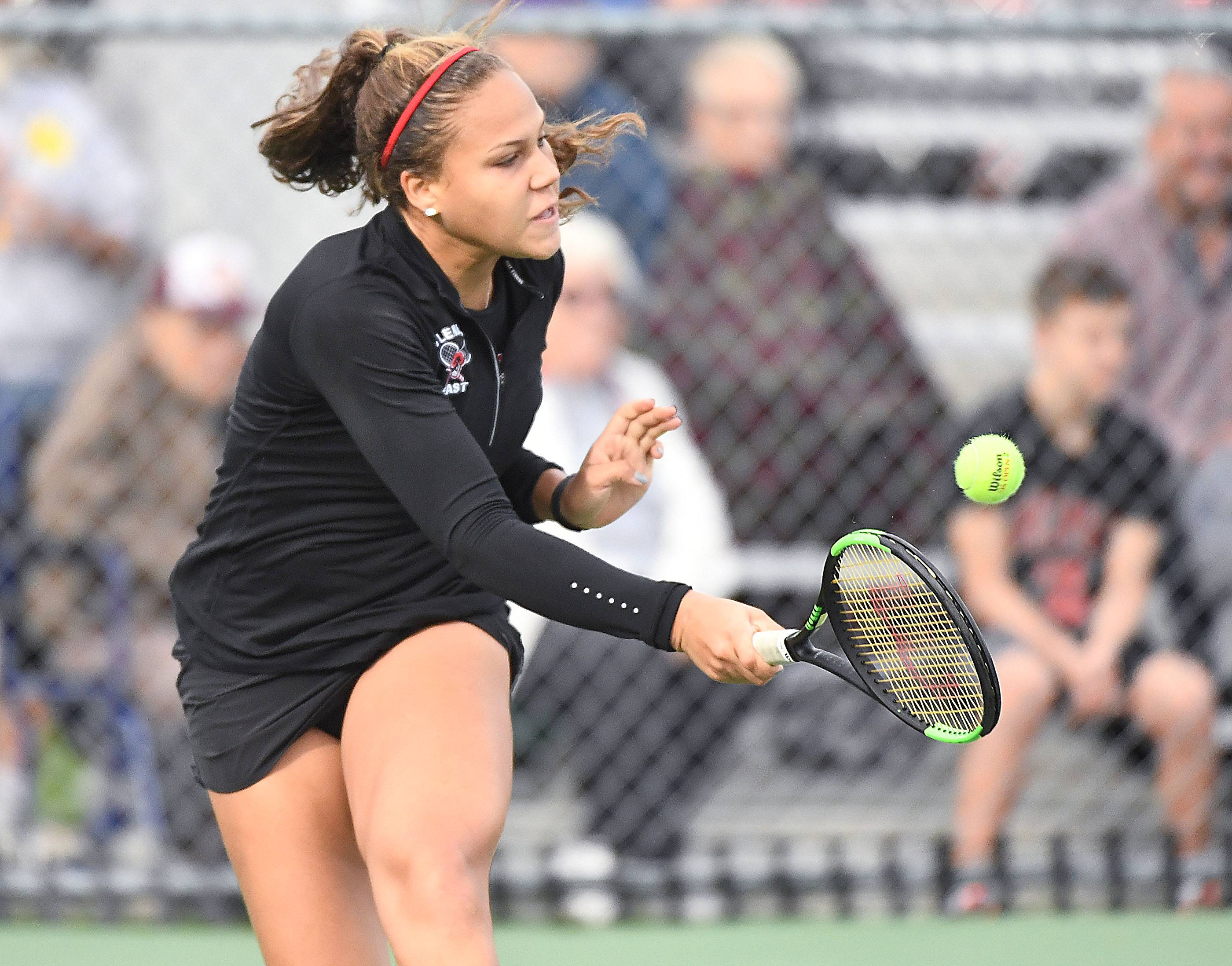 Glenbard East's Kolie Allen in the semifinal Class 2A Singles match against Niles North's Michelle Bacalla Saturday at the IHSA Girls Tennis State Finals at Buffalo Grove High School.