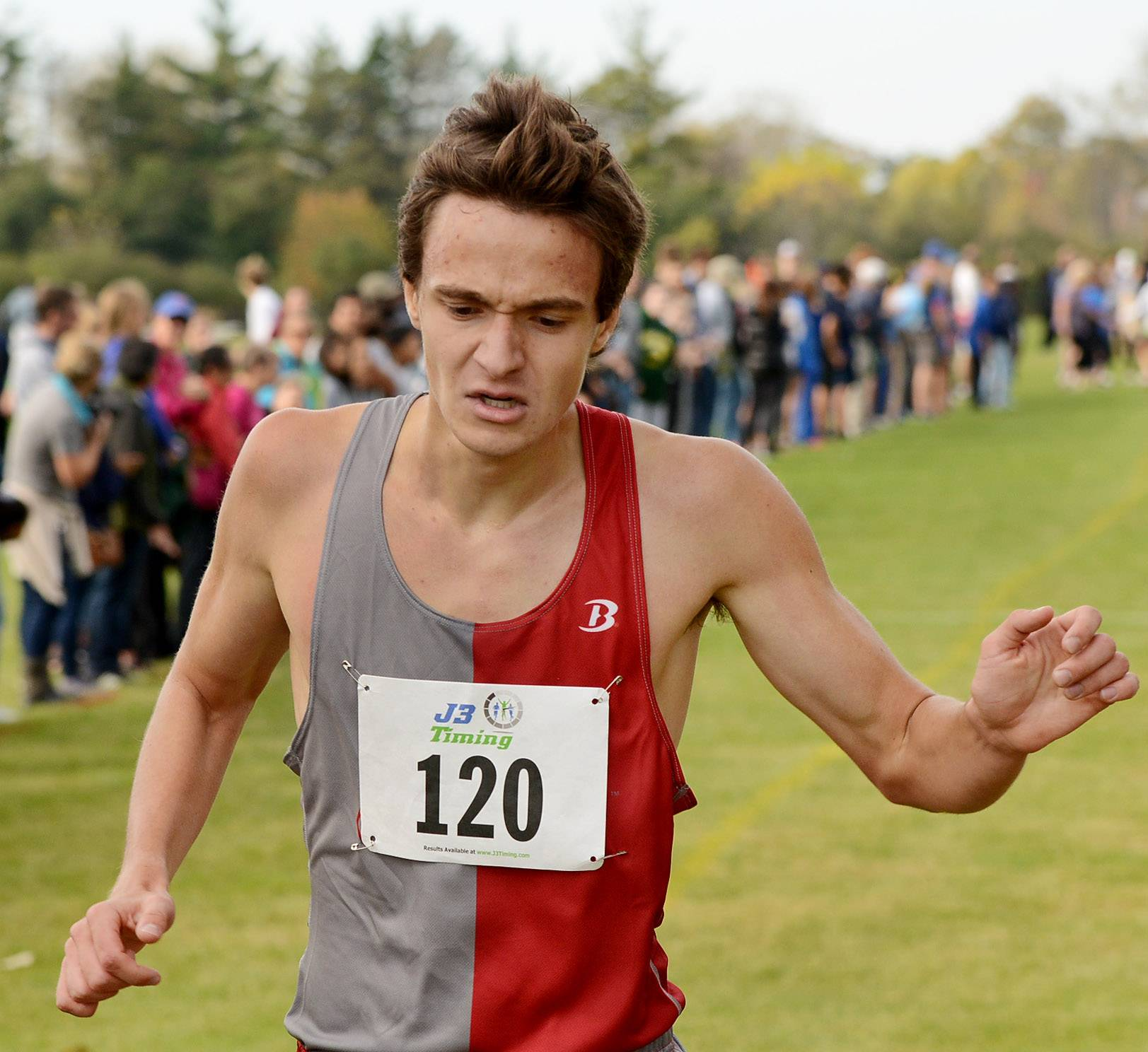 Mundelein's Robert St. Clair finishes third in 15:00.6 during the Class 3A Lake Forest cross country regional.