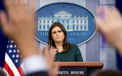 White House press secretary Sarah Huckabee Sanders calls on a member of the media during the daily briefing in the Brady Press Briefing Room of the White House, Friday, Oct. 20, 2017, in Washington. (AP Photo/Andrew Harnik)
