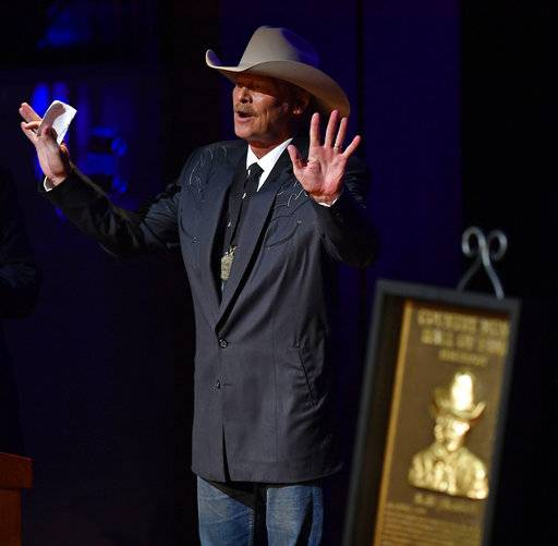 Alan Jackson speaks during his induction into the Country Music Hall of Fame on Sunday, Oct. 22, in Nashville, Tenn.