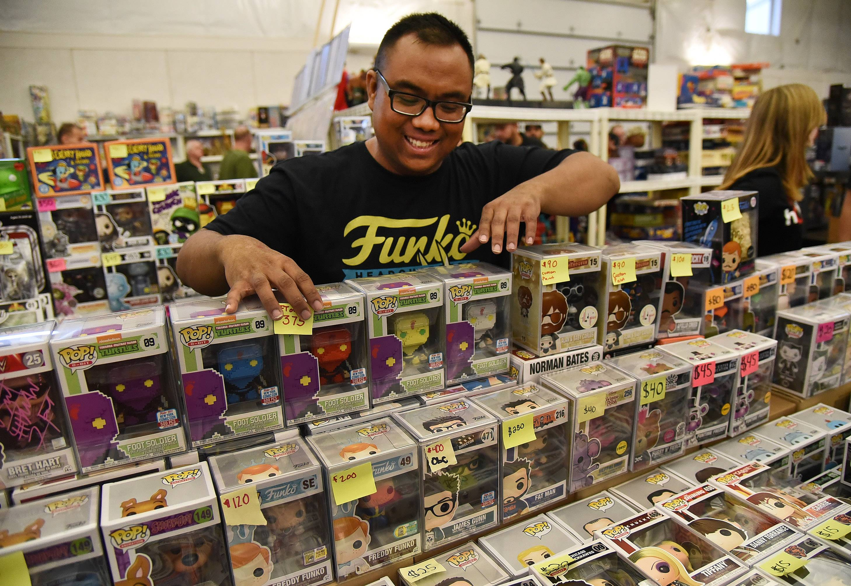If Ninja Turtles were your thing, Ray Punzalan of Carol Stream had dozens of NY Comic Con Funko Exclusives on display Sunday at the 44th Antique Collectible Toy and Doll Show at the Kane County Fairgrounds in St. Charles.