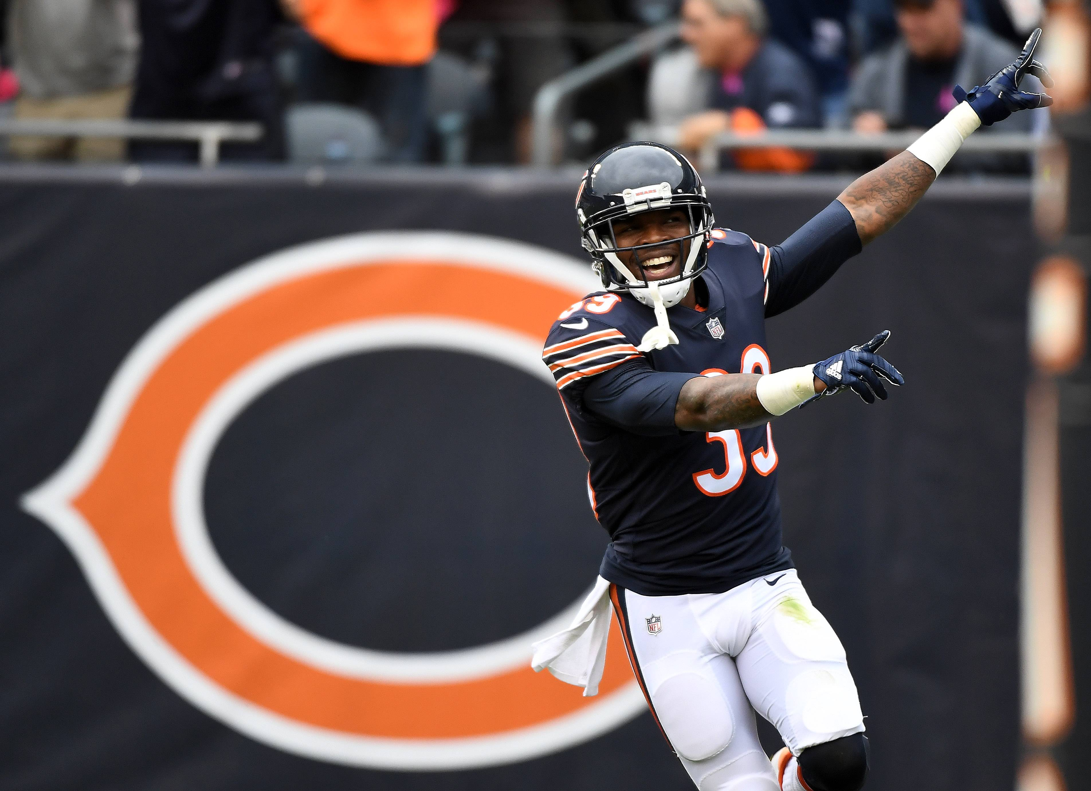 Chicago Bears free safety Eddie Jackson (39) celebrates his first touchdown on a fumble recovery against the Carolina Panthers during Sunday's game at Soldier Field in Chicago.