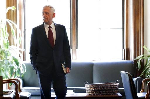 Defense Secretary James Mattis arrives at the office of Sen. John McCain, R-Ariz., for a meeting on Capitol Hill in Washington, Friday, Oct. 20, 2017. (AP Photo/Jacquelyn Martin)