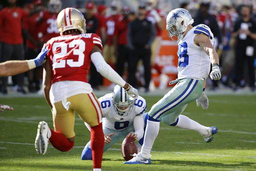 Dallas Cowboys strong safety Jeff Heath, right, kicks a point after try from the hold of Chris Jones (6) during the second half of an NFL football game against the San Francisco 49ers in Santa Clara, Calif., Sunday, Oct. 22, 2017. (AP Photo/Eric Risberg)