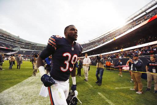 Chicago Bears safety Eddie Jackson runs off the field after an NFL football game against the Carolina Panthers, Sunday, Oct. 22, 2017, in Chicago. The Bears won 17-3.(AP Photo/Charles Rex Arbogast)
