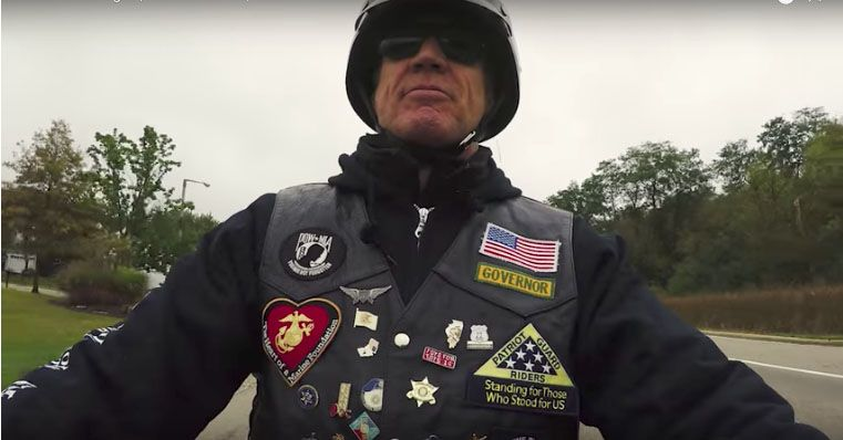 The video released Monday to announce Gov. Bruce Rauner is running for re-election features him riding a motorcycle around the state.