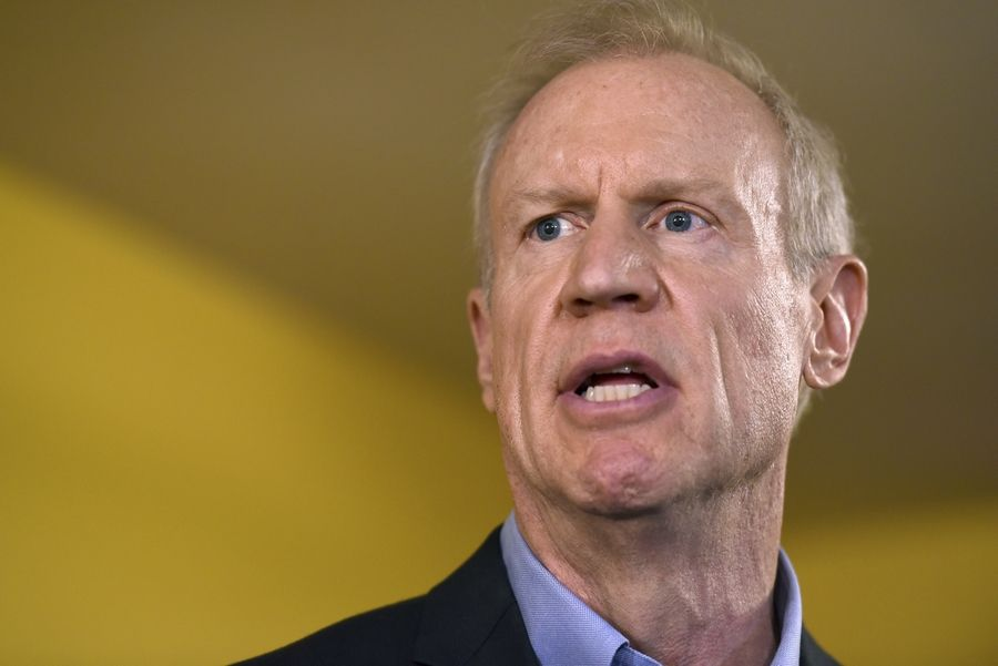 Illinois Gov. Bruce Rauner speaks during a news conference in Chicago. The 2018 Illinois governor's race is on pace to be the most expensive in U.S. history, propelled by a wealthy Republican incumbent and a billionaire Democrat. J.B. Pritzker, one of the world's richest people, is among several Democrats trying to defeat multimillionaire Rauner.
