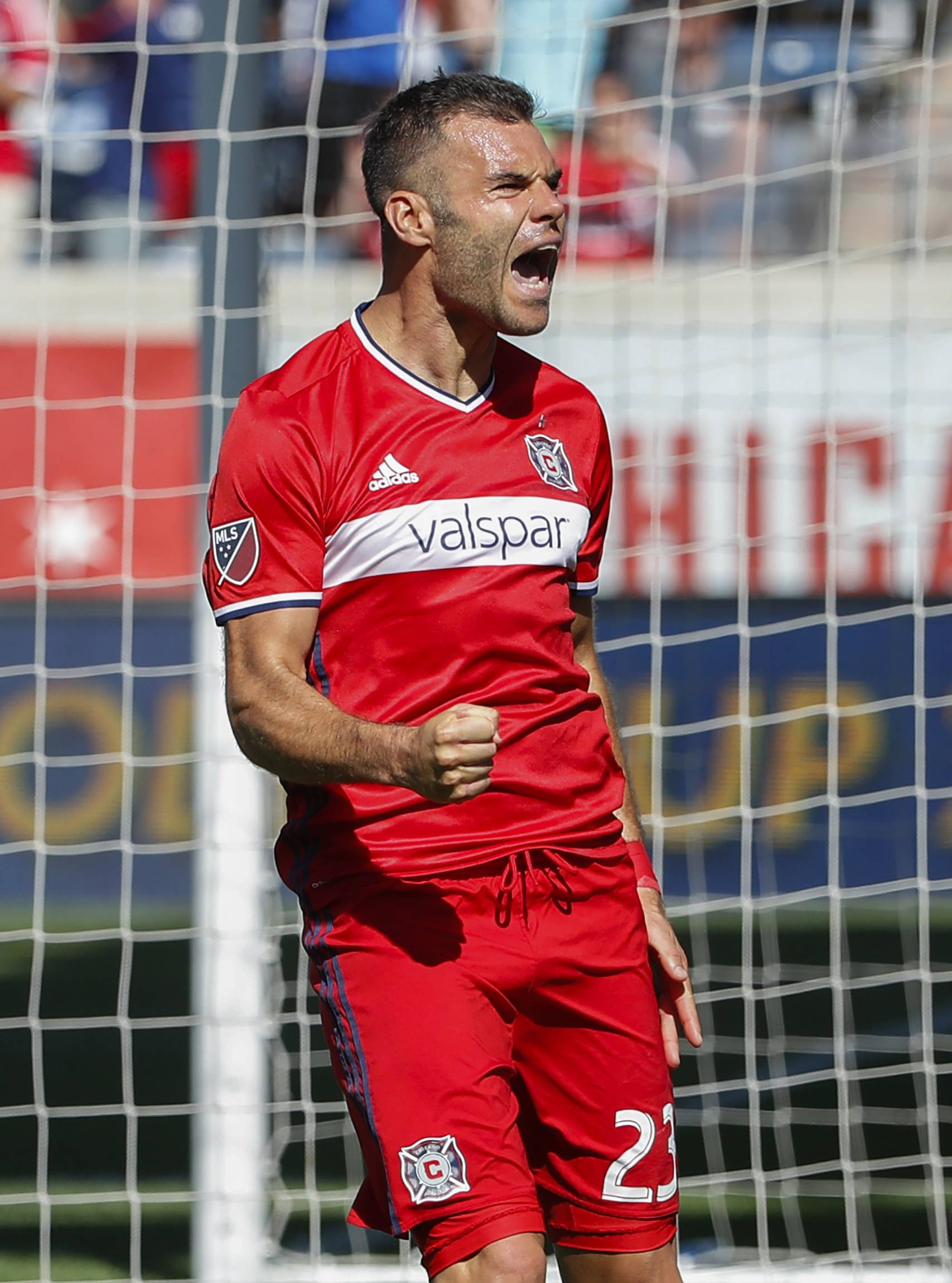 Chicago Fire forward Nemanja Nikolic celebrates after scoring on a penalty kick against Atlanta United goalkeeper Alec Kann during the second half of an MLS soccer match, Saturday, June 10, 2017, in Bridgeview, Ill.