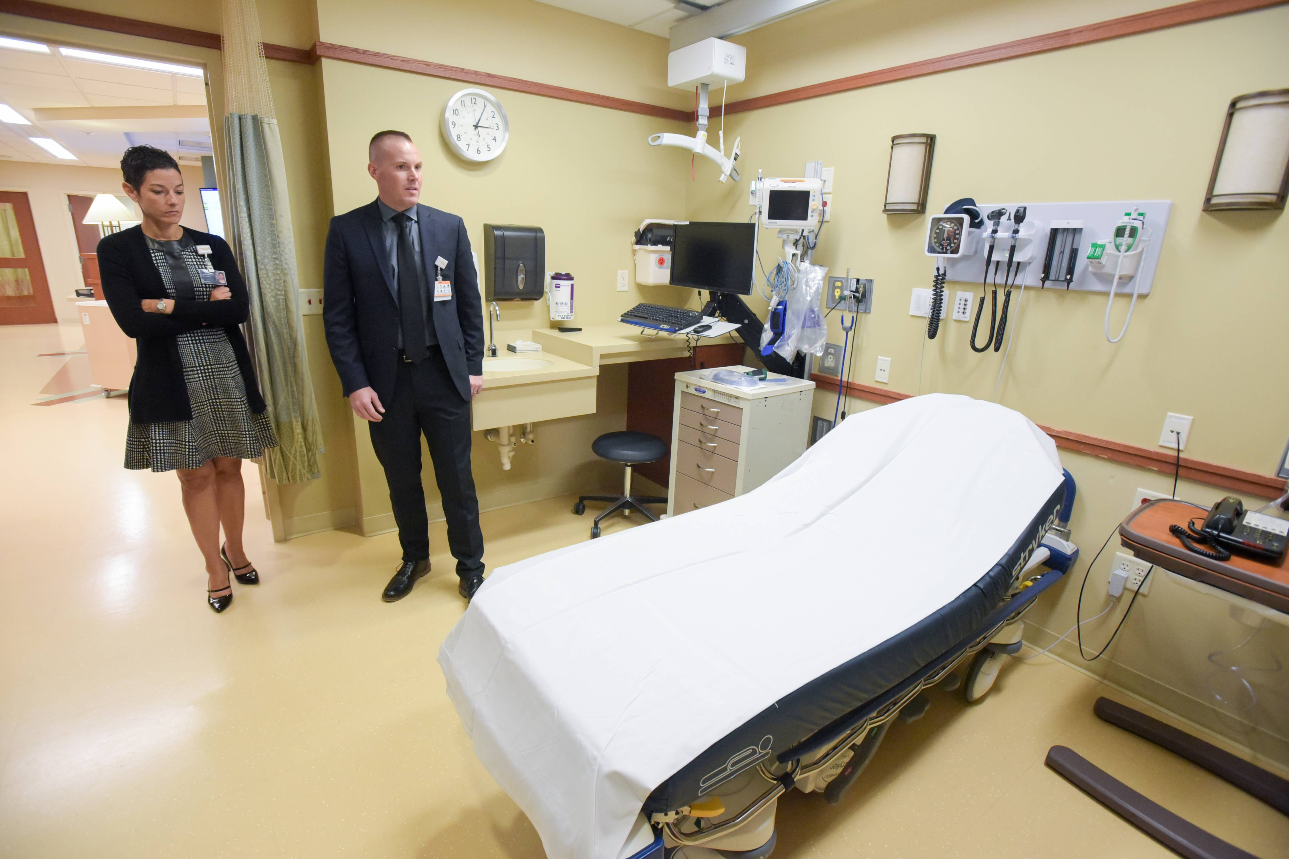 Elmhurst Hospital has added eight new beds to its emergency department. Dr. Michelle Meziere, the department's associate medical director, and Adam Johnson, the department's director, give a tour Tuesday of the addition.