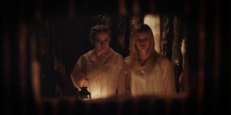 "Two sisters (Ambyr Childers and Julie Garner) make a terrible discovery in the horror tale ""We Are What We Are."""