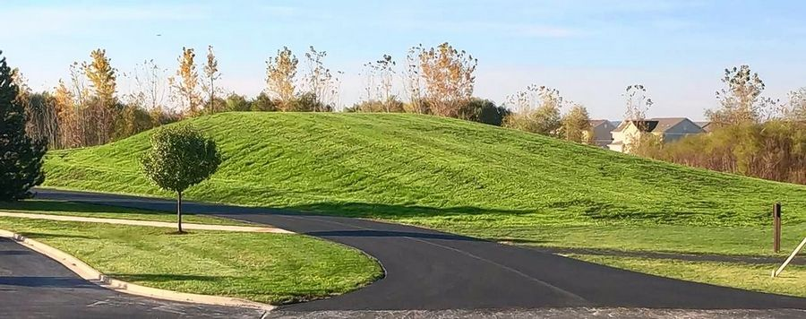 The Huntley Park District is seeking the village's permission to build a 22-foot-tall sledding hill west of the Stingray Bay Family Aquatic Center at 12015 Mill St., using excess dirt from the construction of a new maintenance and storage building south of it.