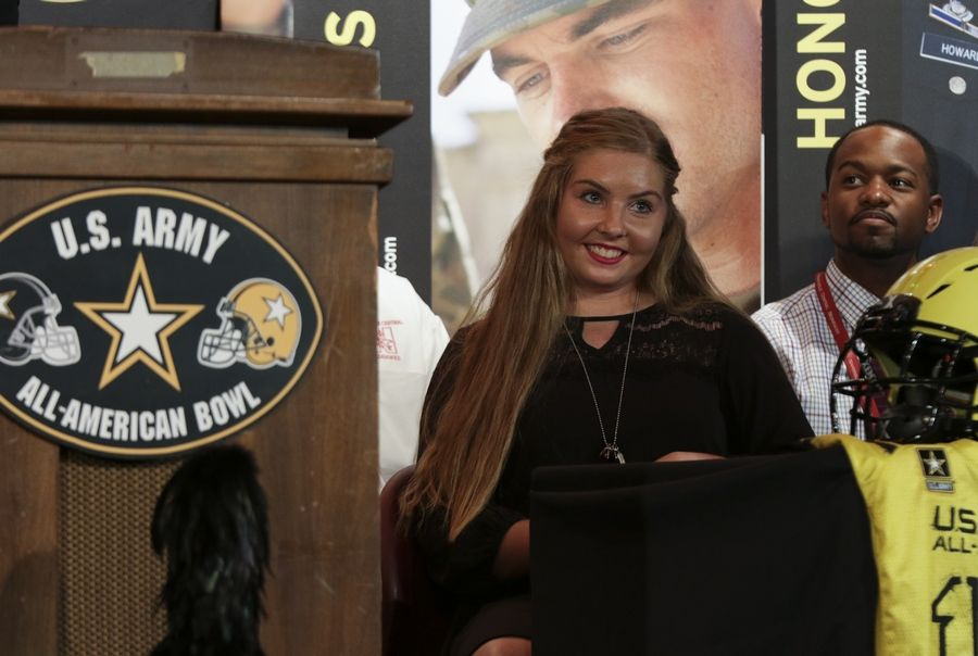Emily Wilkinson of Naperville Central High School expresses gratitude for her selection as one of 125 members of the Army All-American Marching Band, which is set to perform Jan. 6 during halftime of the Army All-American Bowl. Emily will be part of the color guard.