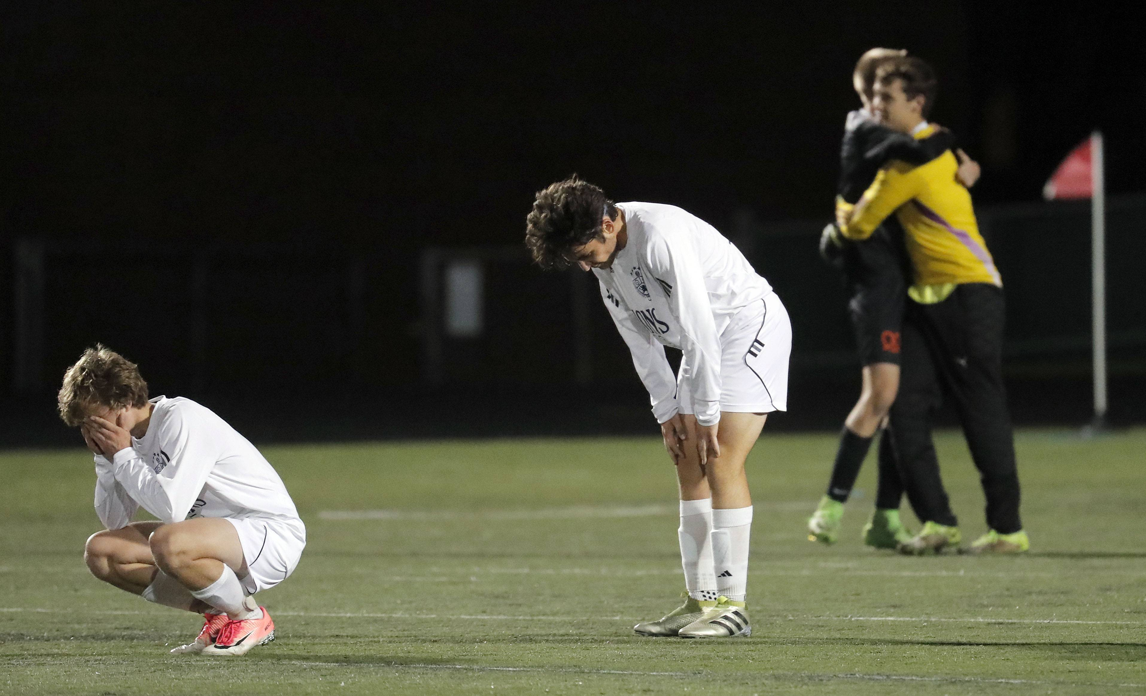 St. Viator's Michael Tangredi, left, and Sean Carey react after falling to Freeport 1-0 in the Class 2A Grayslake Central sectional semifinals Tuesday.