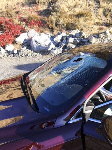 This Oct. 24, 2017, photo provided by the Washington State Patrol shows damage to a vehicle after a bighorn sheep leapt off a hillside and landed on the windshield on Highway 97A south of Chelan, Wash. The driver was not injured, but the sheep was killed. (Washington State Patrol via AP)