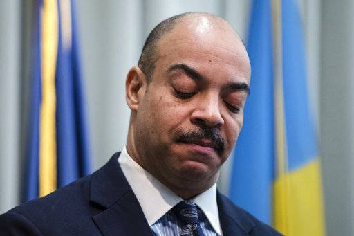 FILE - In this Feb. 10, 2017 file photo Philadelphia District Attorney Seth Williams speaks during a news conference in Philadelphia. Williams, Philadelphia's former top prosecutor was sentenced on Tuesday, Oct. 24, 2017 to five years in prison for accepting a bribe. (AP Photo/Matt Rourke, File)