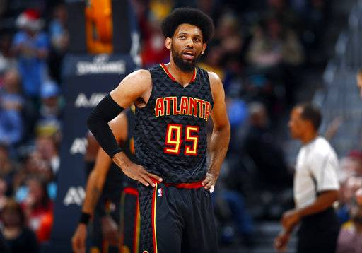 FILE - In this Dec. 23, 2016, file photo, Atlanta Hawks forward DeAndre Bembry (95) pauses during a break in the second half of an NBA basketball game against the Denver Nuggets in Denver. Bembry is expected to miss four to six weeks after having surgery to repair his fractured right wrist, the team announced Tuesday, Oct. 24, 2017. (AP Photo/David Zalubowski, File)