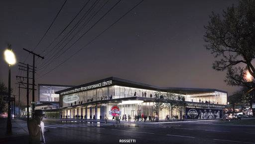 In this undated artist's rendering released by the Detroit Pistons, shows the NBA basketball team's new practice facility and headquarters in Detroit. Michigan has approved $16 million in tax incentives, Tuesday, Oct. 24, 2017, for the Detroit Pistons to build a practice facility and headquarters in downtown Detroit. (Rossetti/Detroit Pistons via AP)