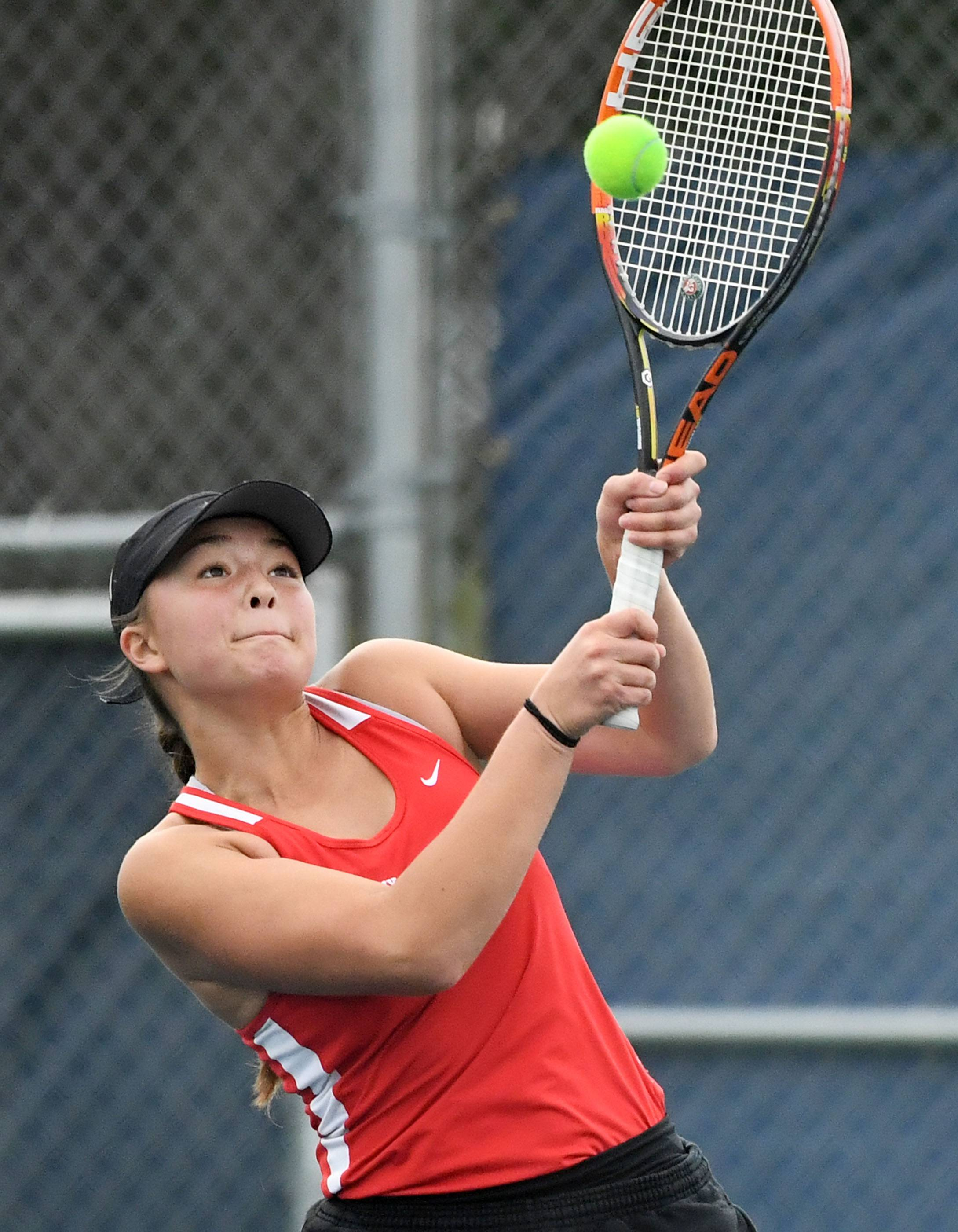 Timothy Christian's Abygale Ahn returns a backhand with teammate Cassandra Lee in the Class 1A semifinal Doubles match Saturday at the IHSA Girls Tennis State Finals at Buffalo Grove High School.