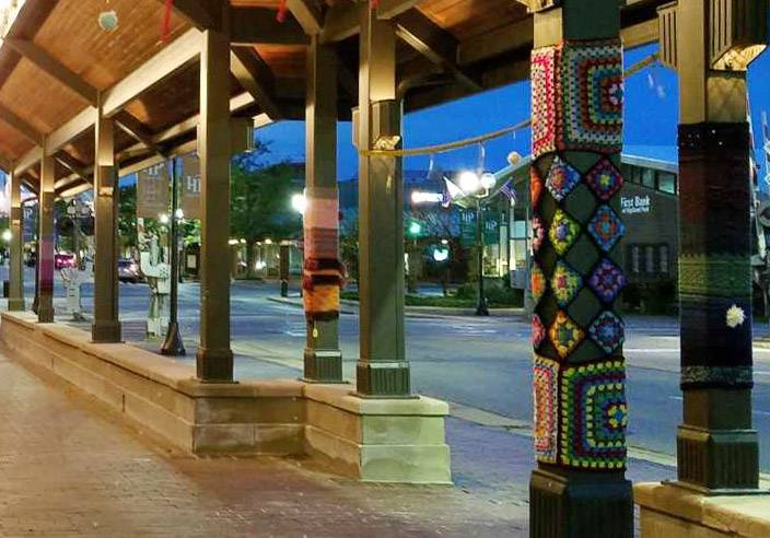 "Residents two years ago ""yarn bombed"" the covered walkway in downtown Highland Park. A similar community art project using colorful yarn has been approved for downtown Libertyville."
