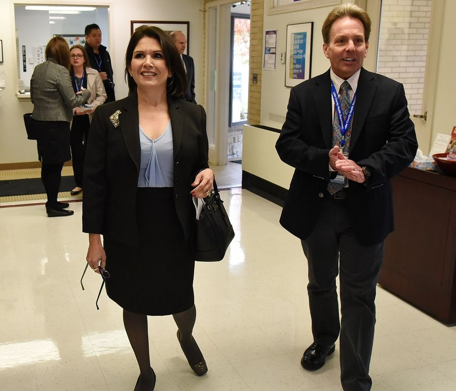 Lt. Gov. Evelyn Sanguinetti is given a tour of the Lake County Health Department and Community Health Center by Executive Director Mark Pfister Friday in Waukegan.