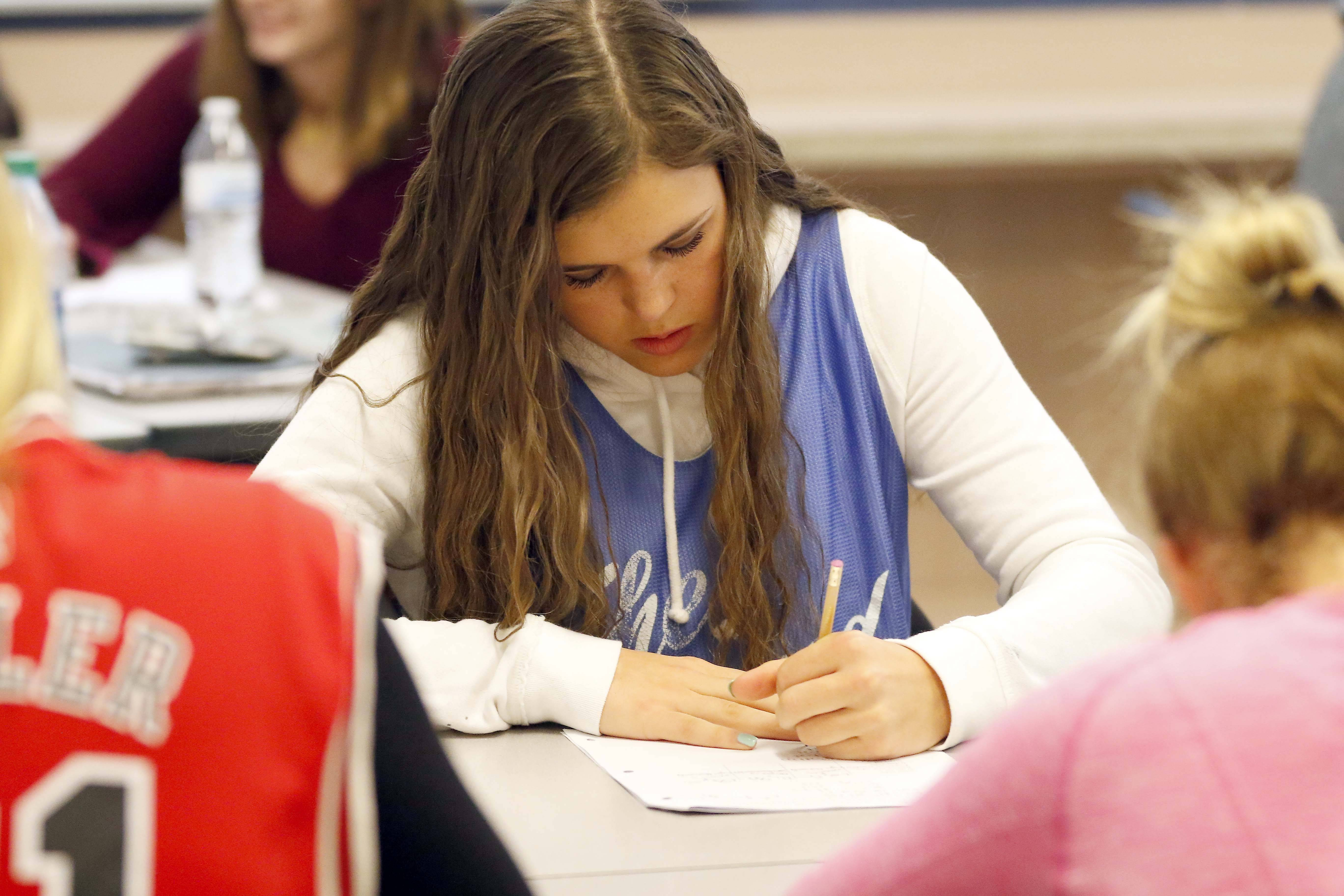 Student Amanda Parker works in her calculus class at St. Charles North High School, which had the top average composite SAT score in the area.