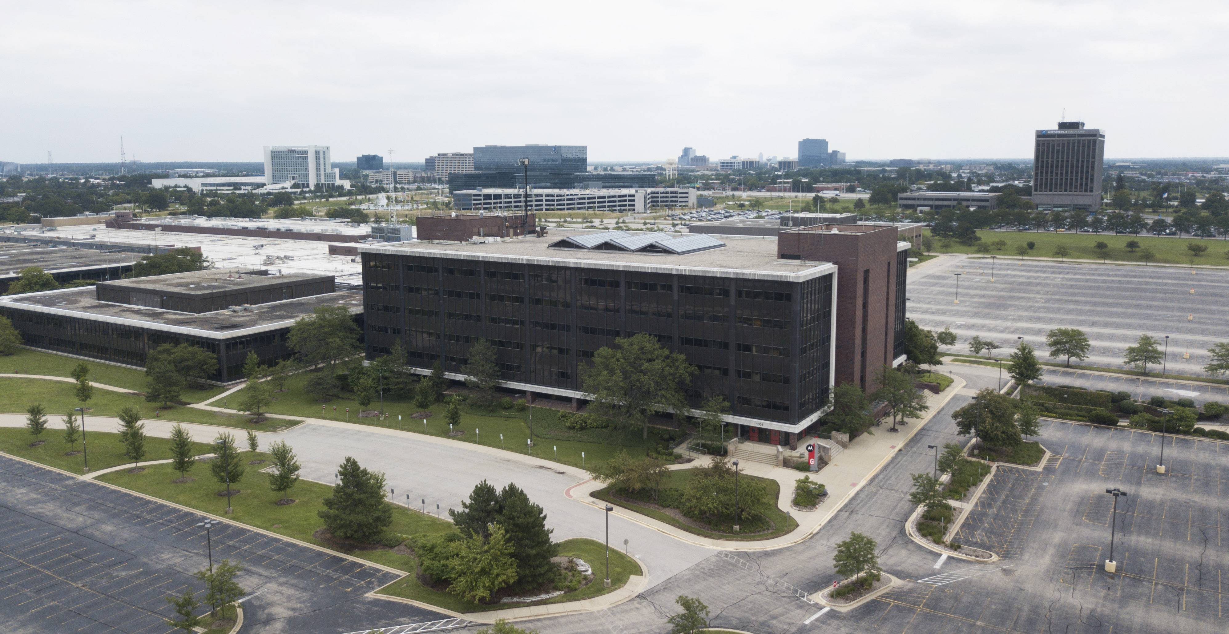 Traffic moves along Algonquin Road in Schaumburg, near the former Motorola Solutions campus, which is a proposed site for retail giant Amazon's second headquarters.