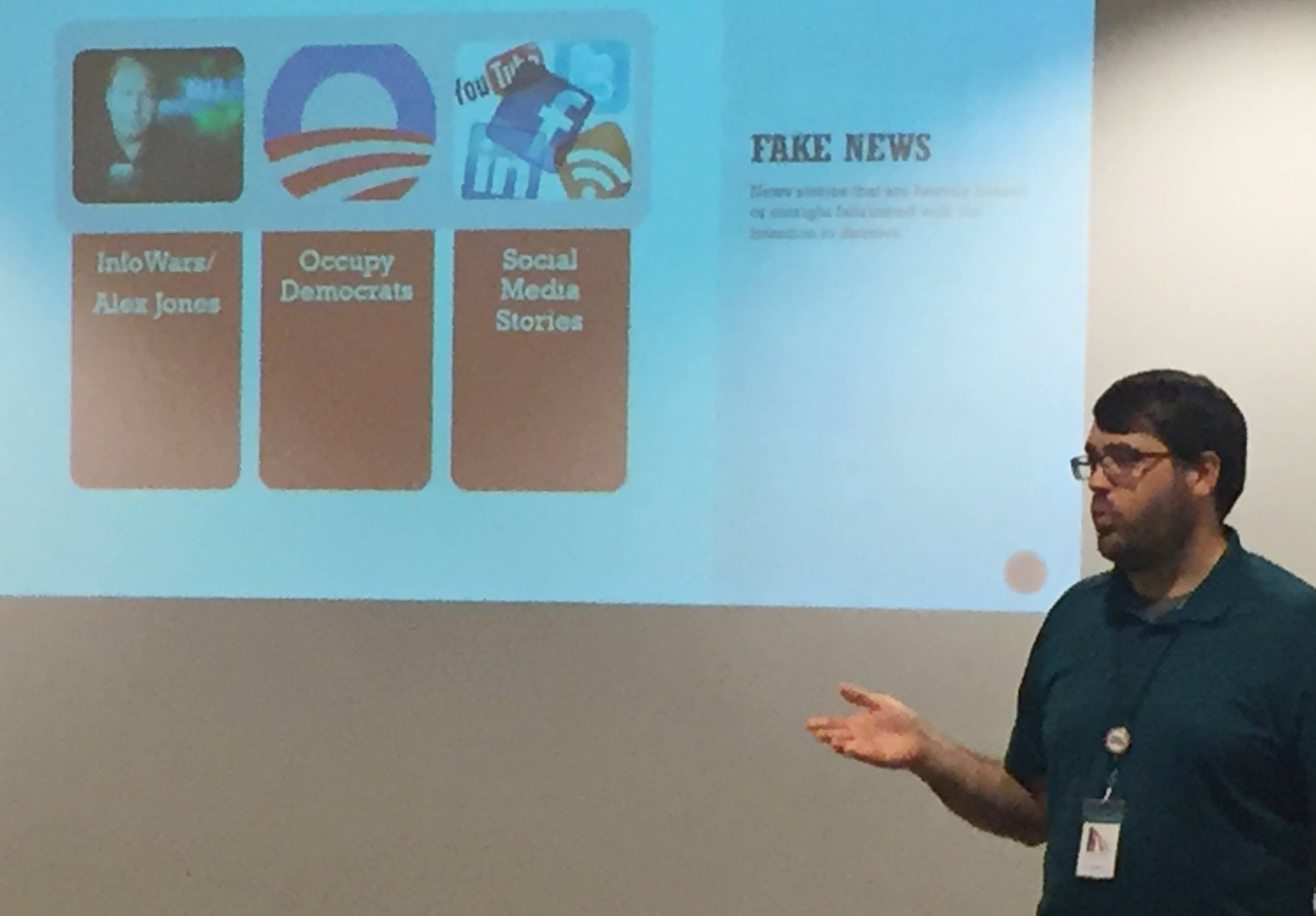 Ian Lashbrook of the Glen Ellyn Public Library discusses fake news during a presentation there last week.