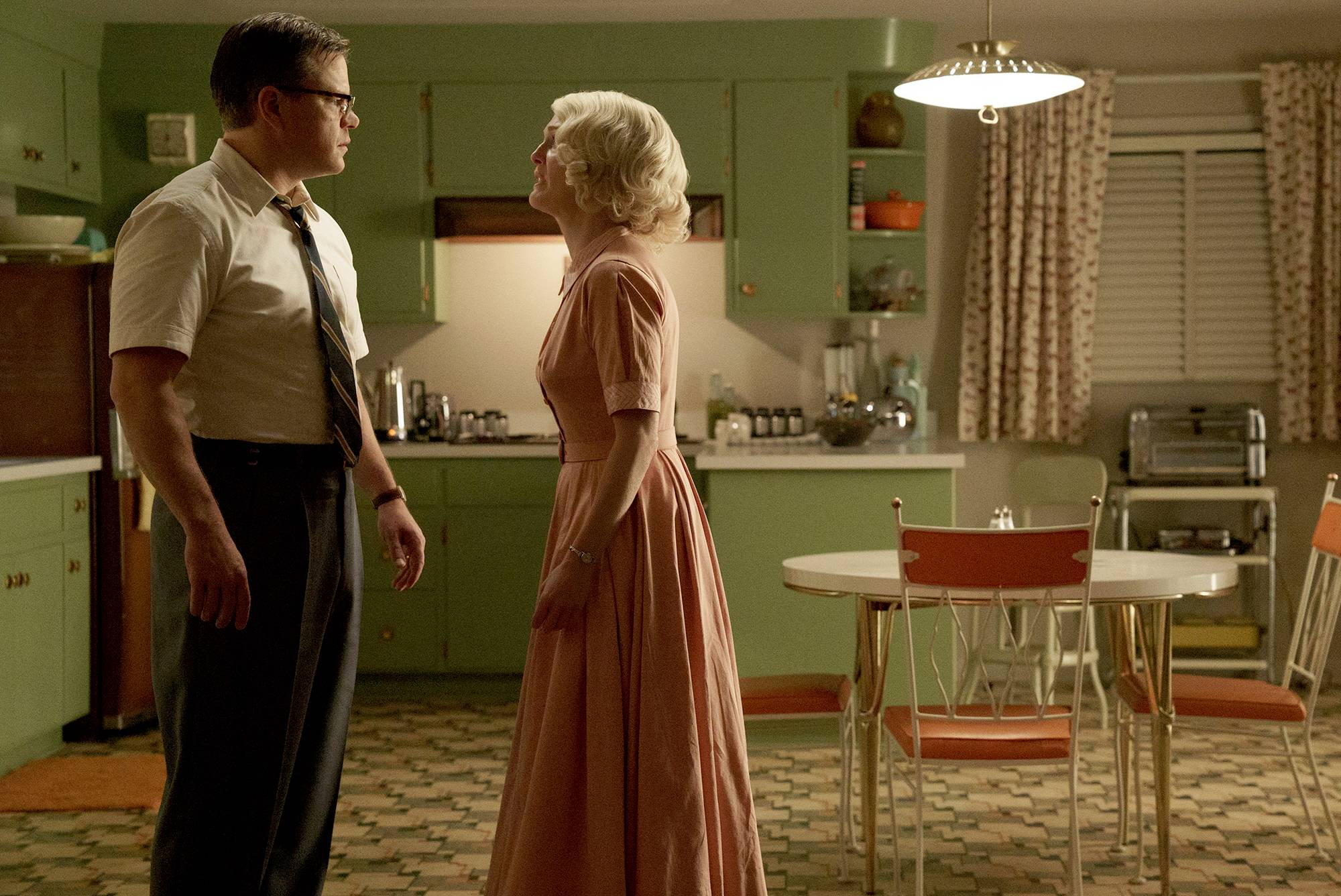 "Gardner (Matt Damon) and Margaret (Julianne Moore) star in ""Suburbicon."""