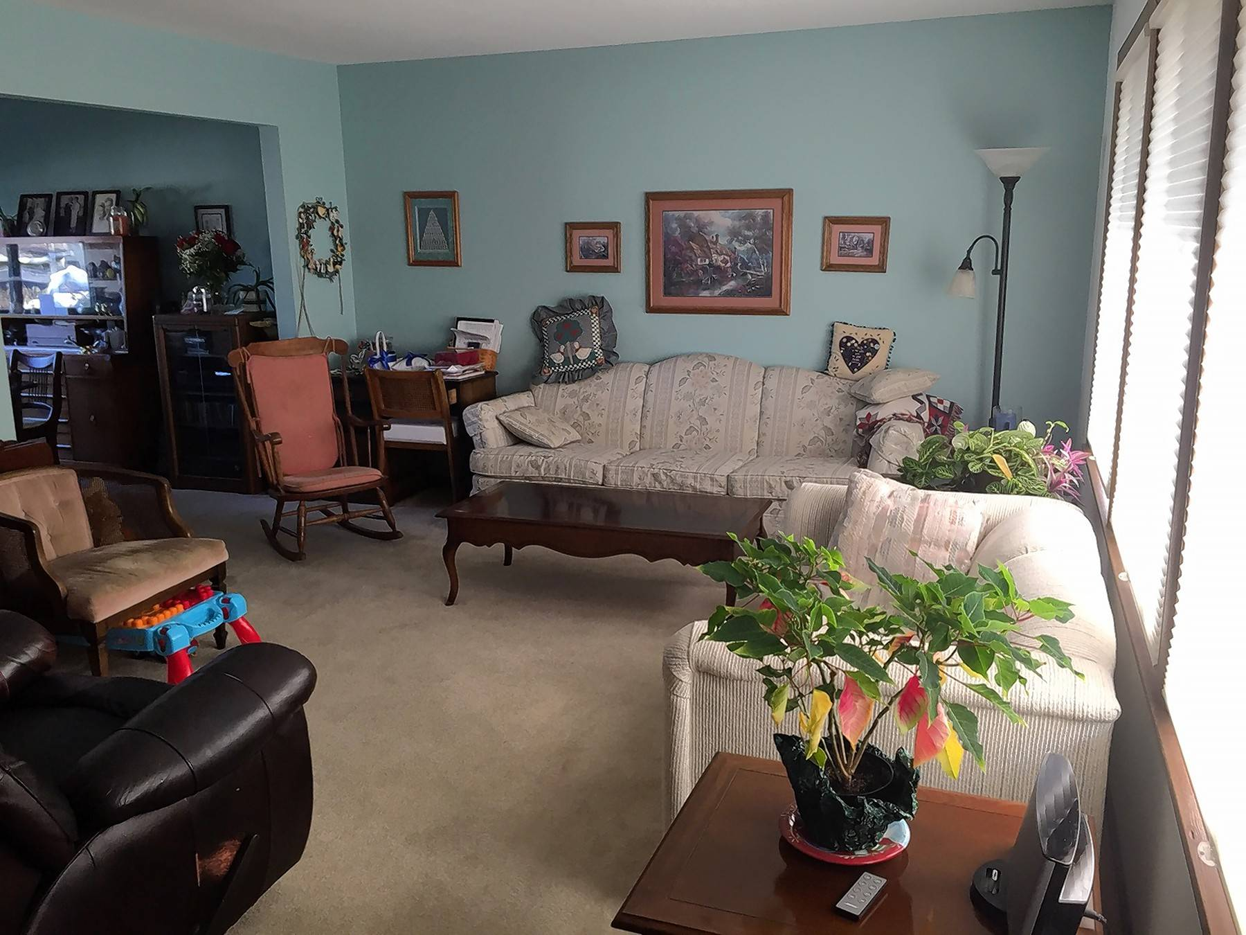 Cindy Lange of Elgin says her living room houses a collection with no matching pieces of furniture.