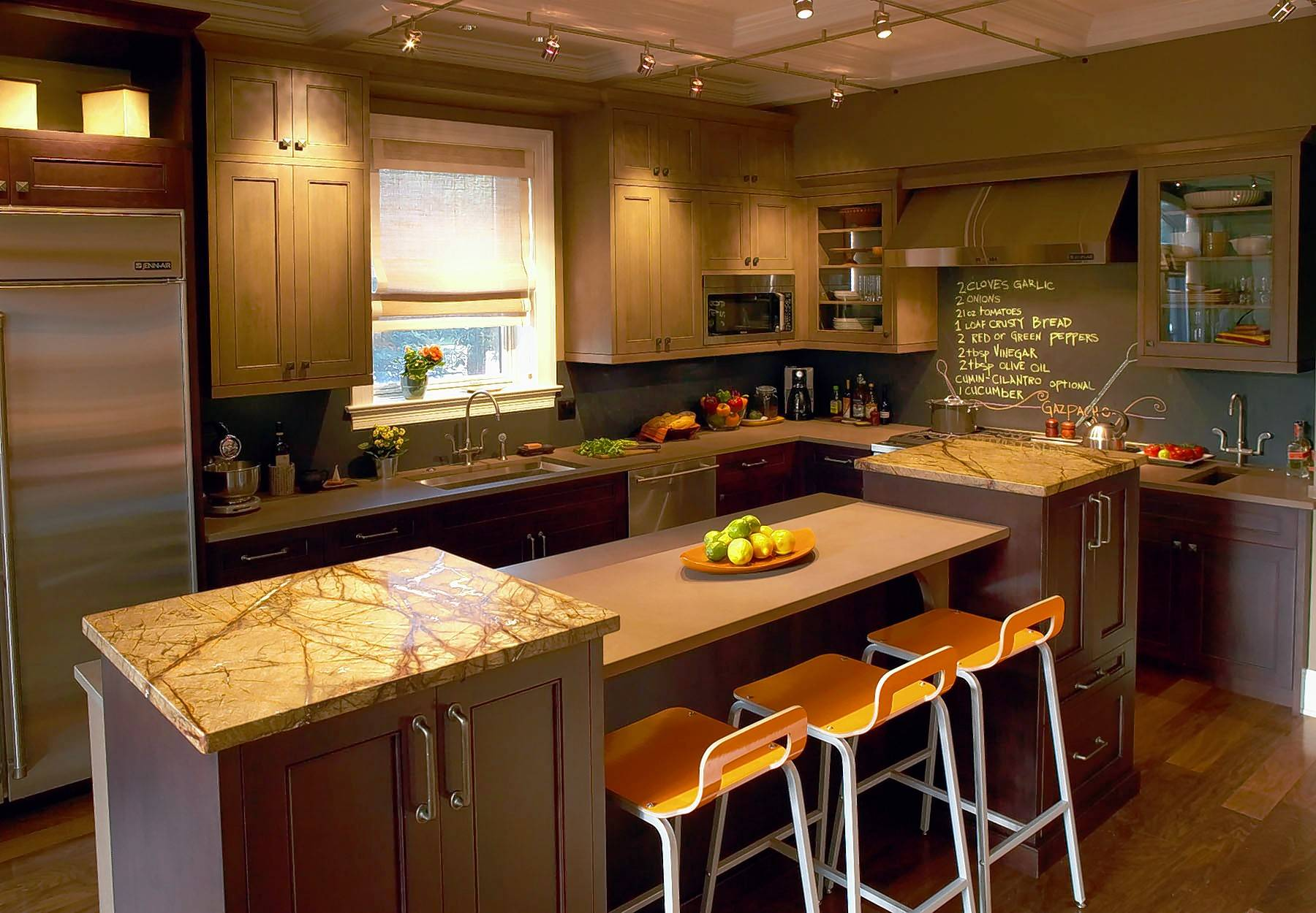In a compact kitchen, try a narrower island like the one seen here.